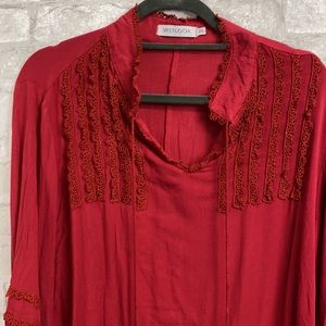 Misslook maroon tunic shirt lace trim